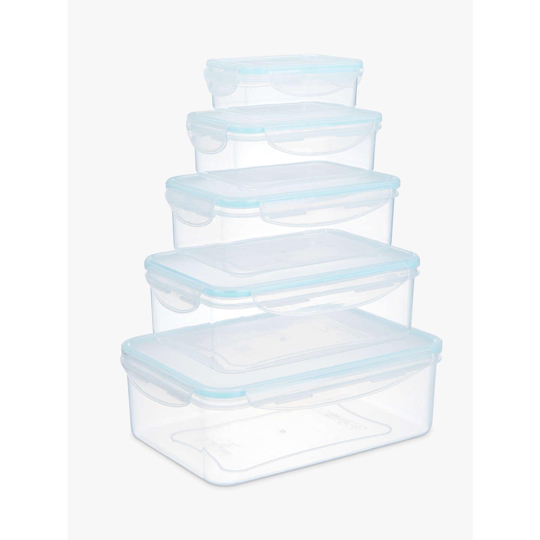 BuyJohn Lewis Stackable Rectangular Polypropylene Storage Containers, Set  Of 5 Online At Johnlewis.com ...