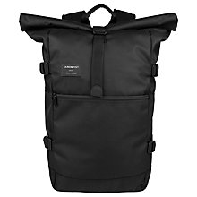 Buy Sandqvist Fabian Roll Top Backpack, Black Online at johnlewis.com