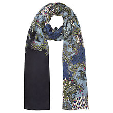 Buy Jigsaw Paisley Print Silk Scarf, Navy Online at johnlewis.com