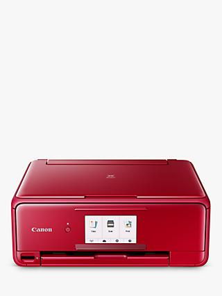 Canon PIXMA TS8152 All-in-One Wireless Wi-Fi Printer with Auto-Tilting Touch Screen, Red
