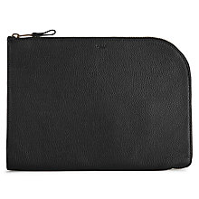 Buy Reiss Bayfield Grained Leather Folio Pouch, Black Online at johnlewis.com