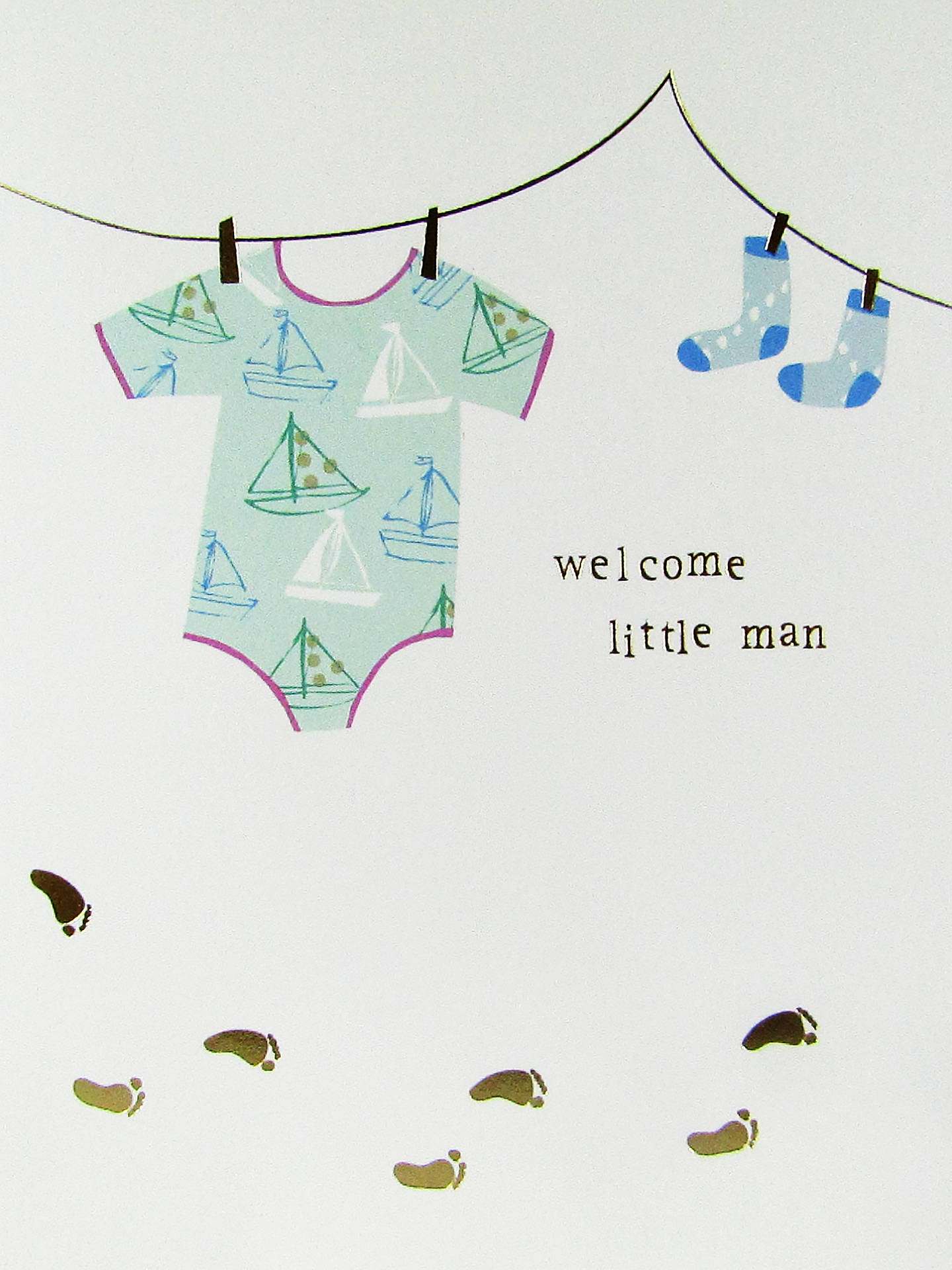 BuyCaroline Gardner Welcome Little Man Baby Boy Card Online at johnlewis.com