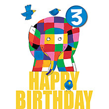 Buy Hype Elmer Badge 3rd Birthday Card Online at johnlewis.com