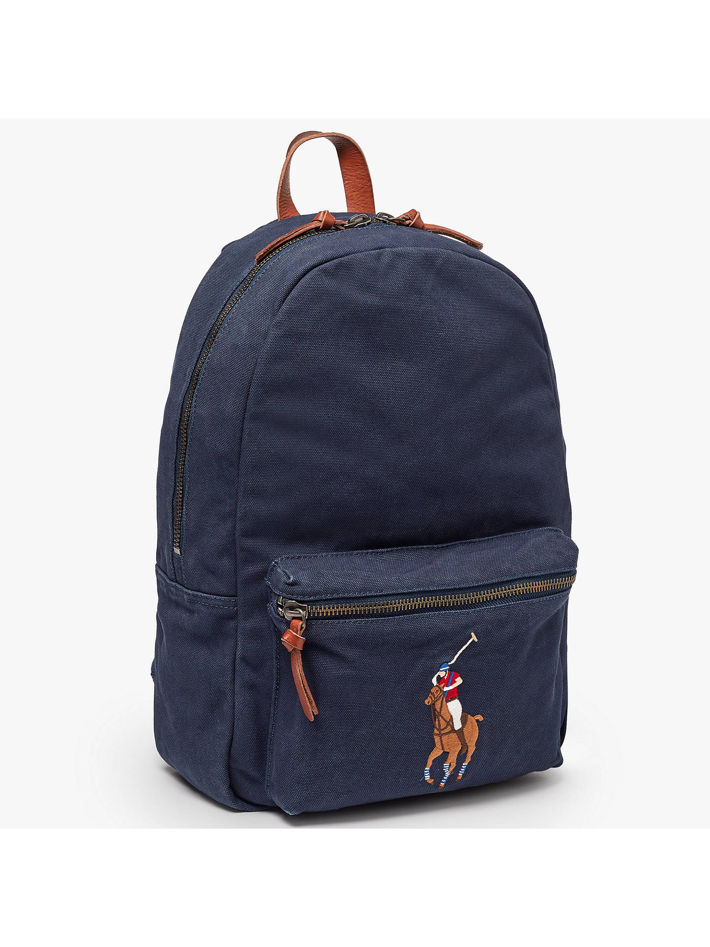 4528ff8b735 BuyPolo Ralph Lauren Canvas Big Pony Backpack, Navy Online at johnlewis.com  ...