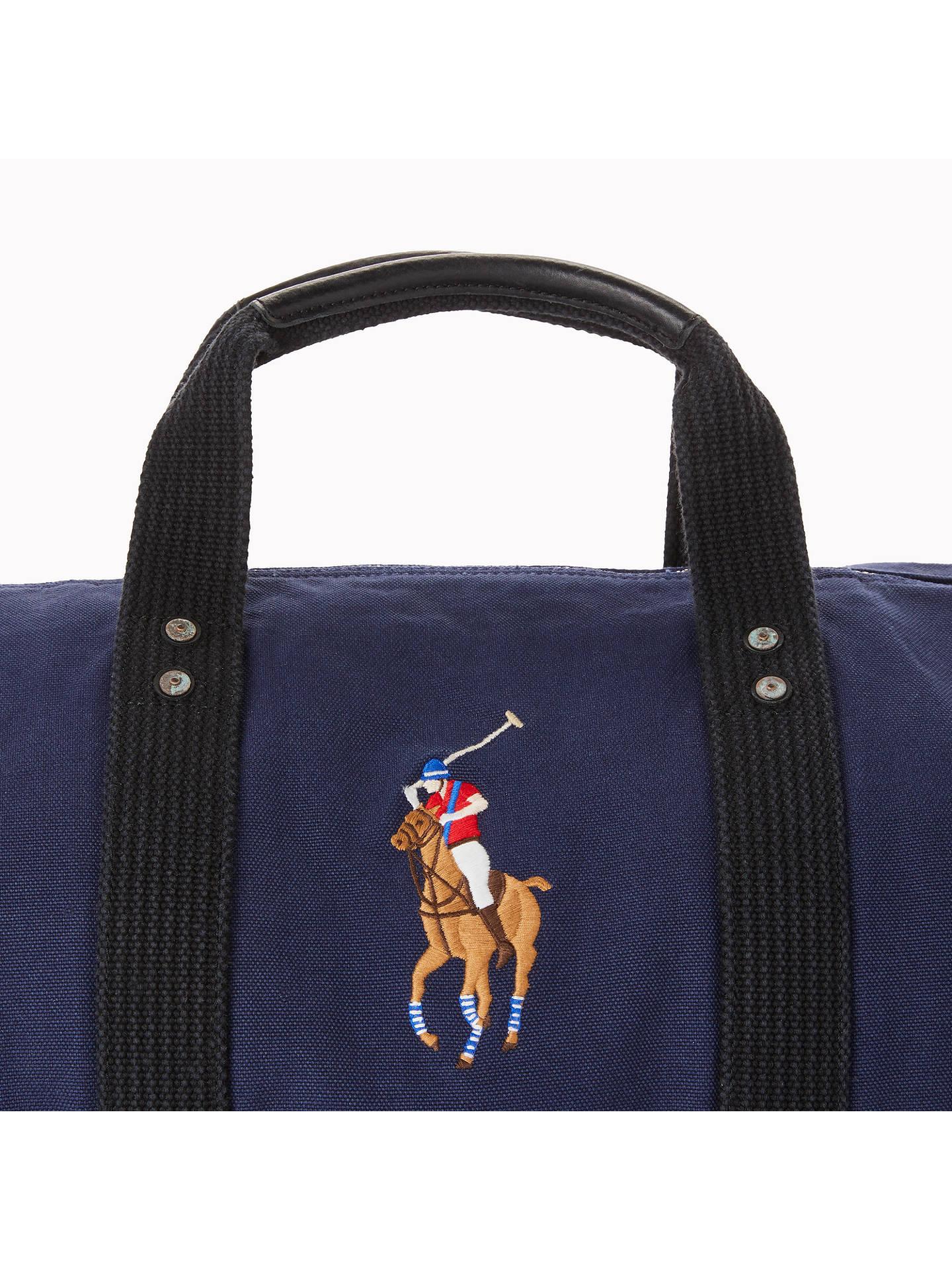 ... BuyPolo Ralph Lauren Canvas Big Pony Duffle Bag, Navy Online at  johnlewis.com 34d21f45bf