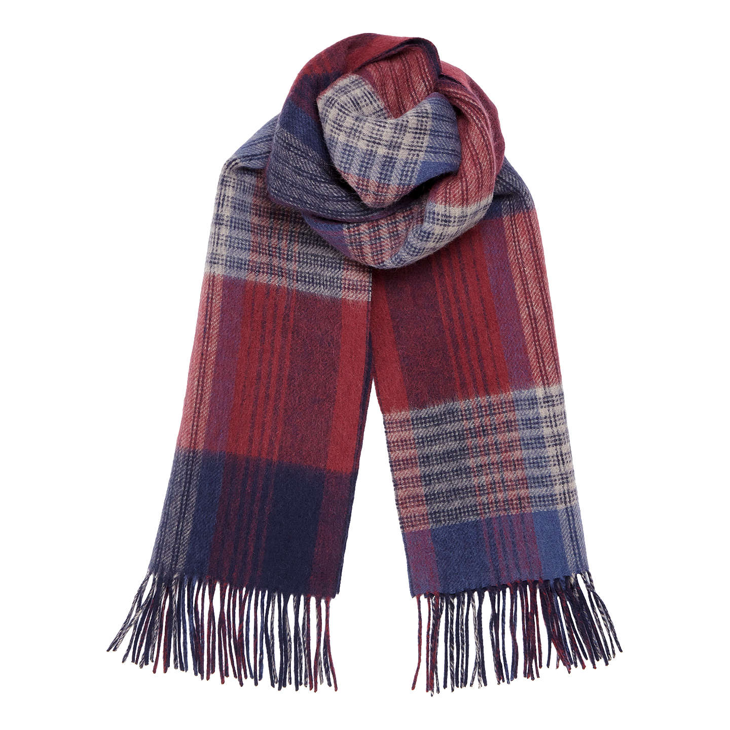 Buyjigsaw Double Faced Check Scarf, Redwood Online At Johnlewiscom