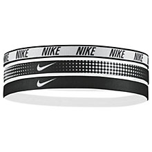 Buy Nike Elastic Headband, Pack of 3, Black/White Online at johnlewis.com