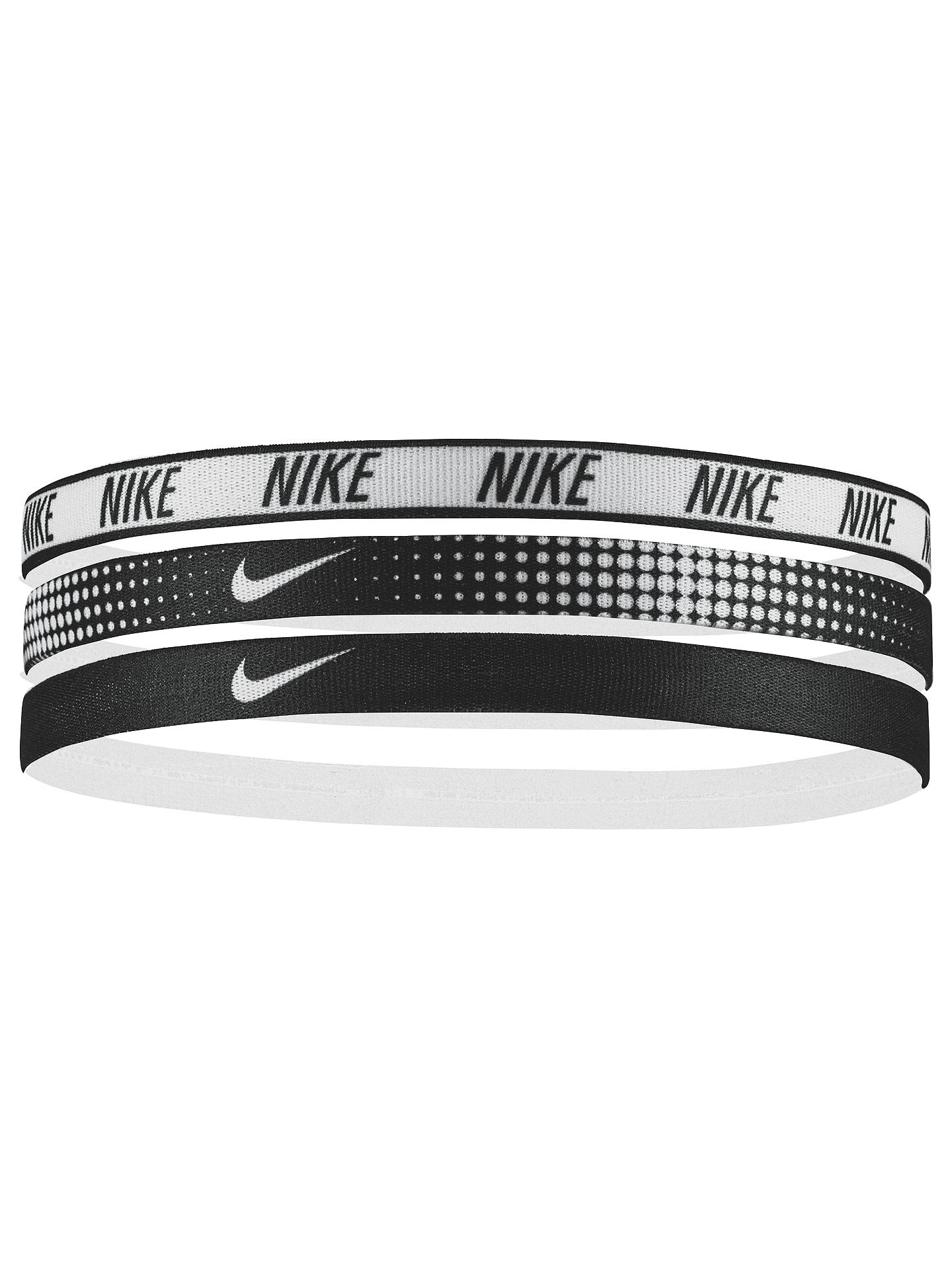 BuyNike Elastic Headband, Pack of 3, Black/White Online at johnlewis.com