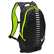 Buy Nike Run Commuter Backpack, Black/Volt/Silver Online at johnlewis.com
