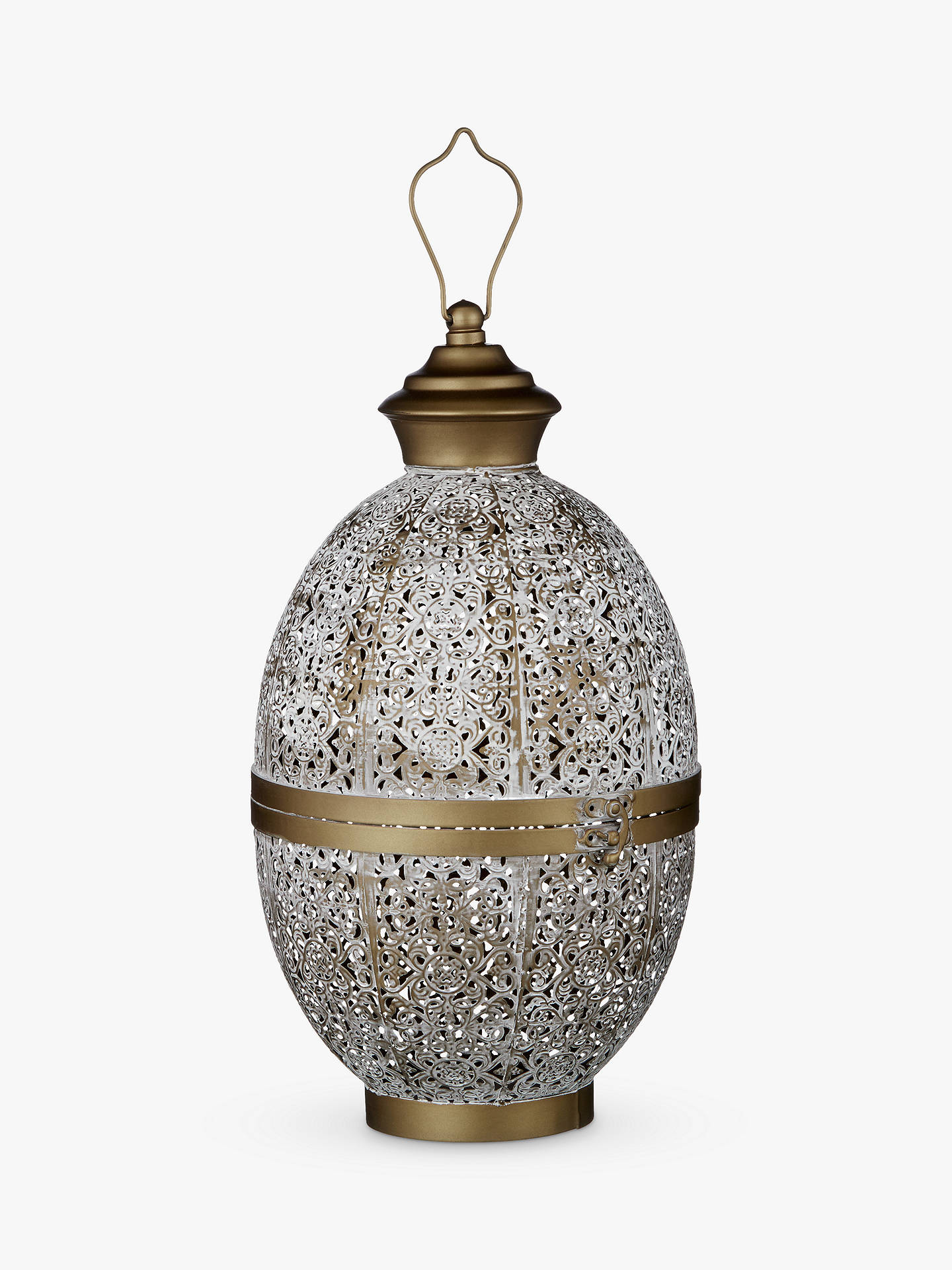 Buy John Lewis & Partners Fusion Oval Iron Lantern, White/Brass Online at johnlewis.com