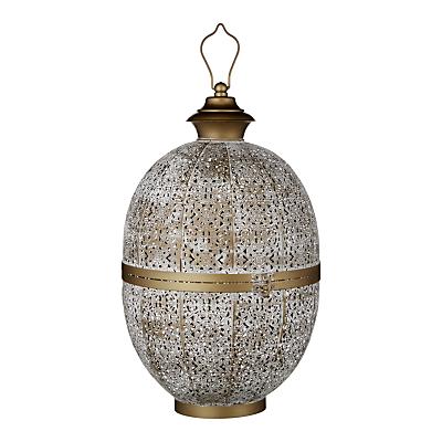 John Lewis Fusion Oval Iron Large Lantern, White/Brass