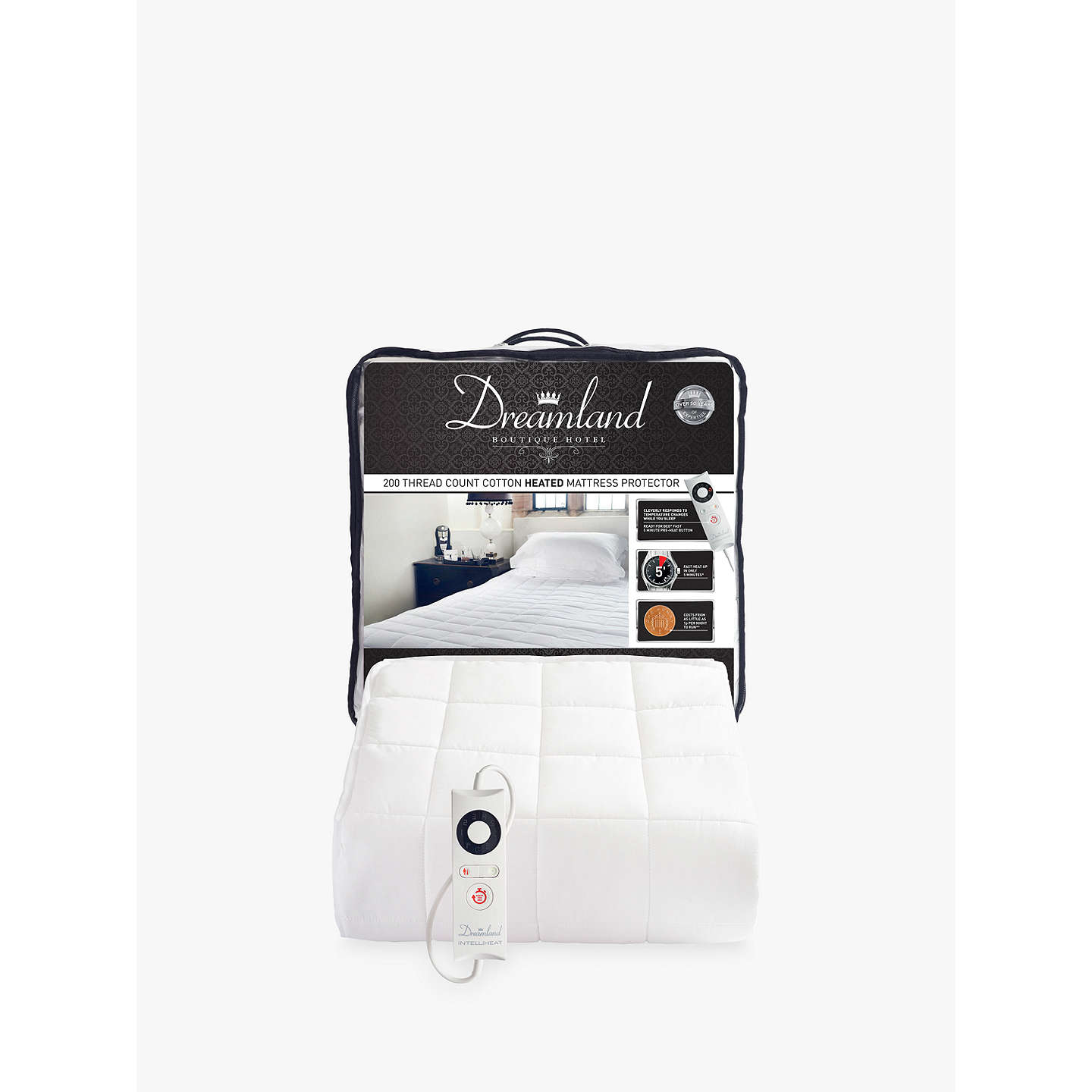 BuyDreamland Cotton Heated Mattress Protector, Single Online at johnlewis.com