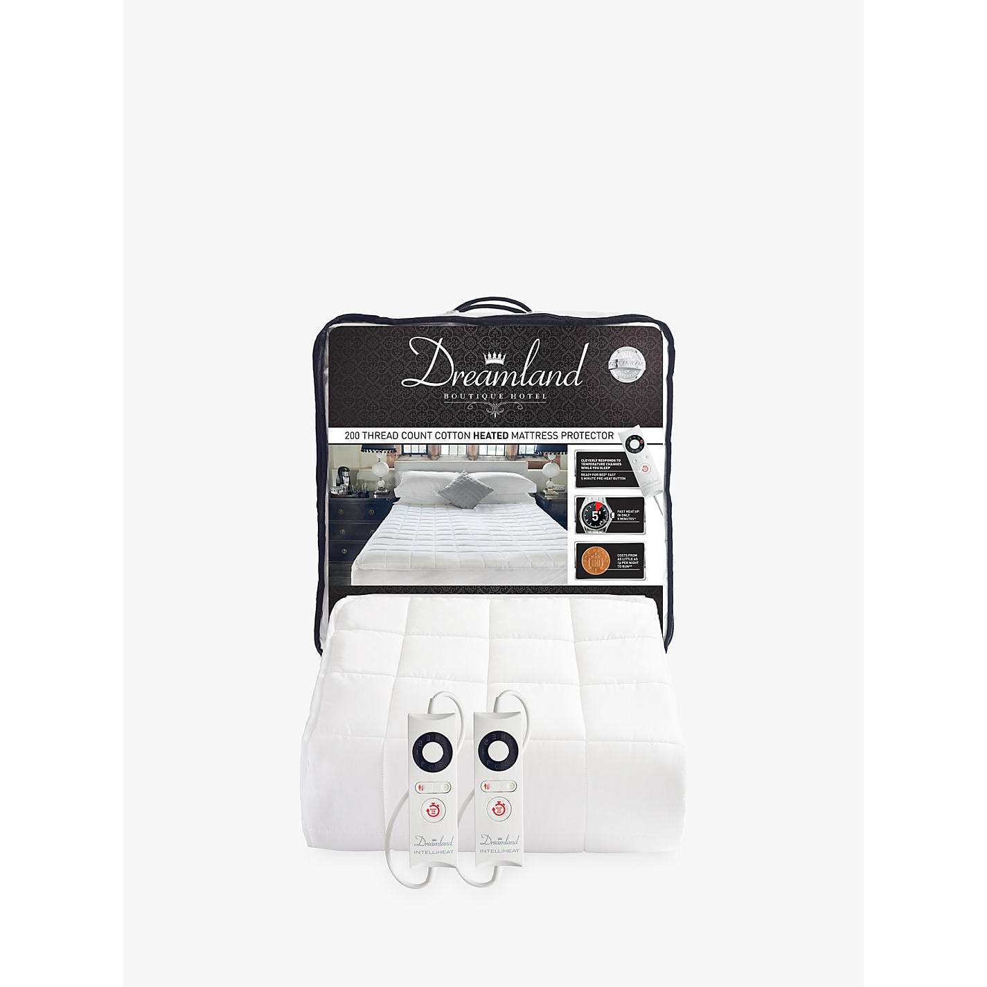 Dreamland Dual Control Cotton Heated Mattress Protector Online At Johnlewis