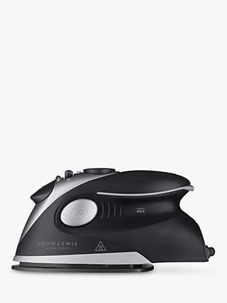 John Lewis & Partners Travel Iron, Black/Silver