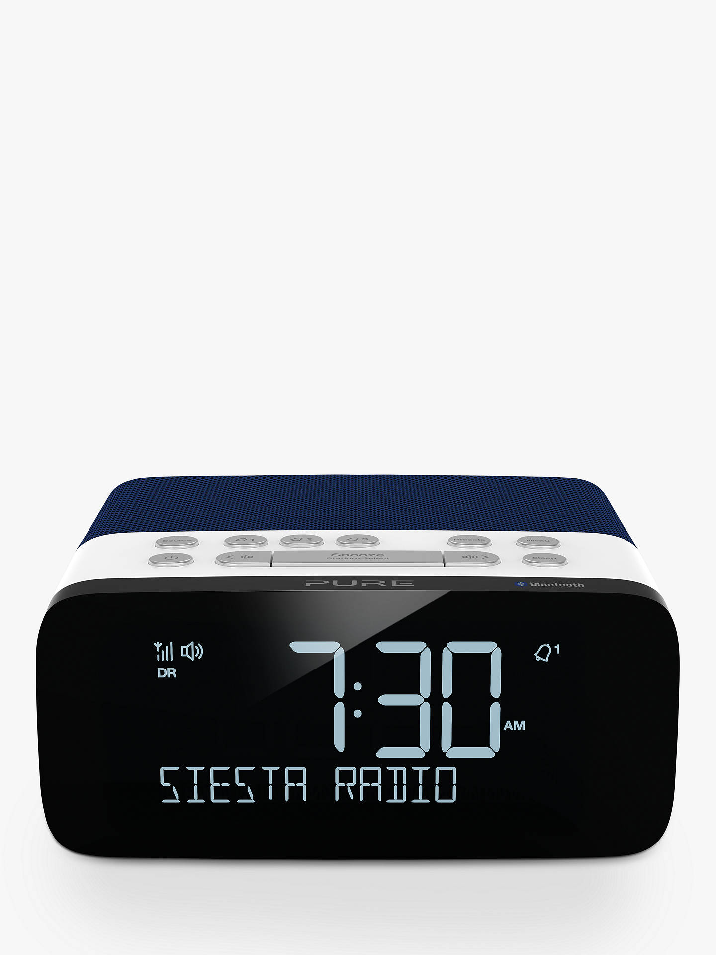 Buy Pure Siesta Rise S DAB/FM Bluetooth Bedside Clock Radio, Navy Online at johnlewis.com