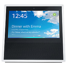 "Buy 2x Amazon Echo Show Smart Speaker with 7"" Screen & Alexa Voice Recognition & Control, White Online at johnlewis.com"