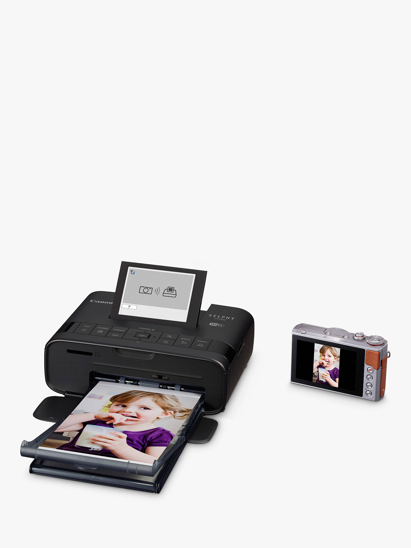"Buy Canon SELPHY CP1300 Portable Photo Printer with Wi-Fi, Apple AirPrint & 3.2"" Tiltable Display, Black Online at johnlewis.com"