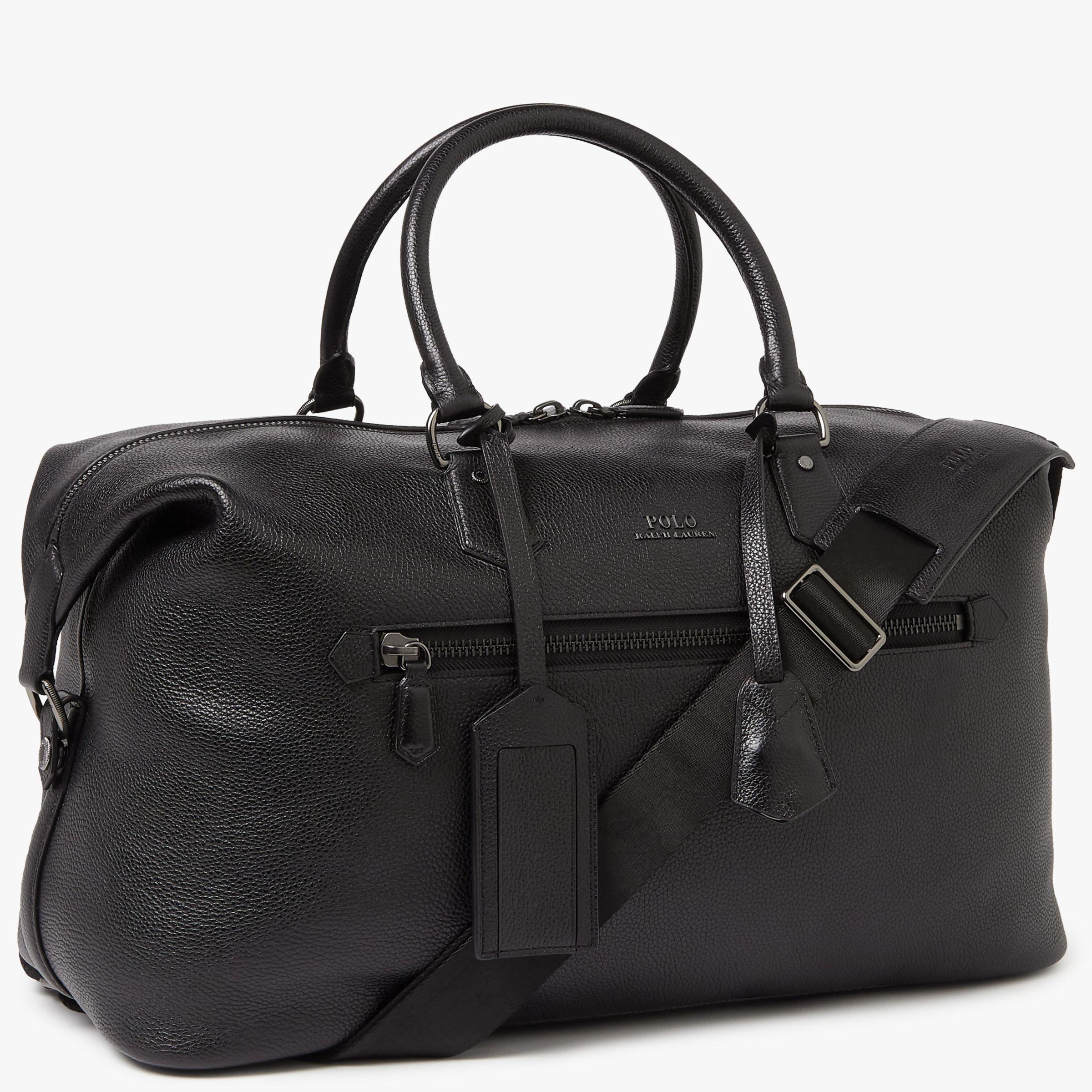 Polo Ralph Lauren Pebble Leather Duffle Bag, Black at John Lewis   Partners 5757be7dec