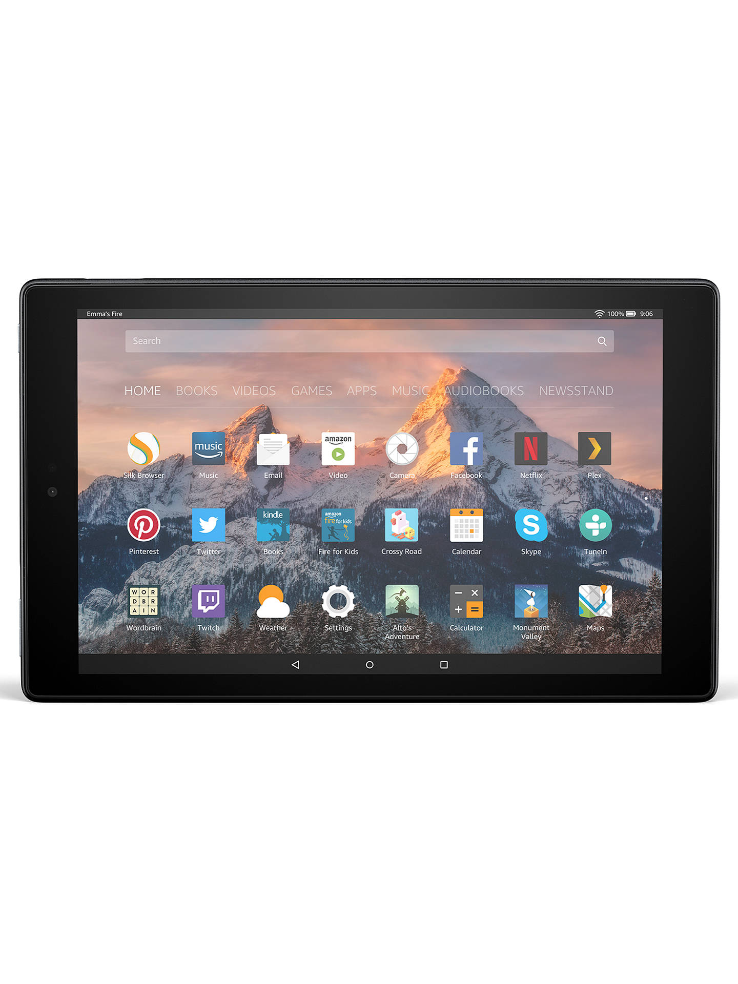 "BuyNew Amazon Fire HD 10 Tablet with Alexa Hands-Free, Quad-core, Fire OS, 10.1"" Full HD, Wi-Fi, 32GB, with Special Offers, Black Online at johnlewis.com"
