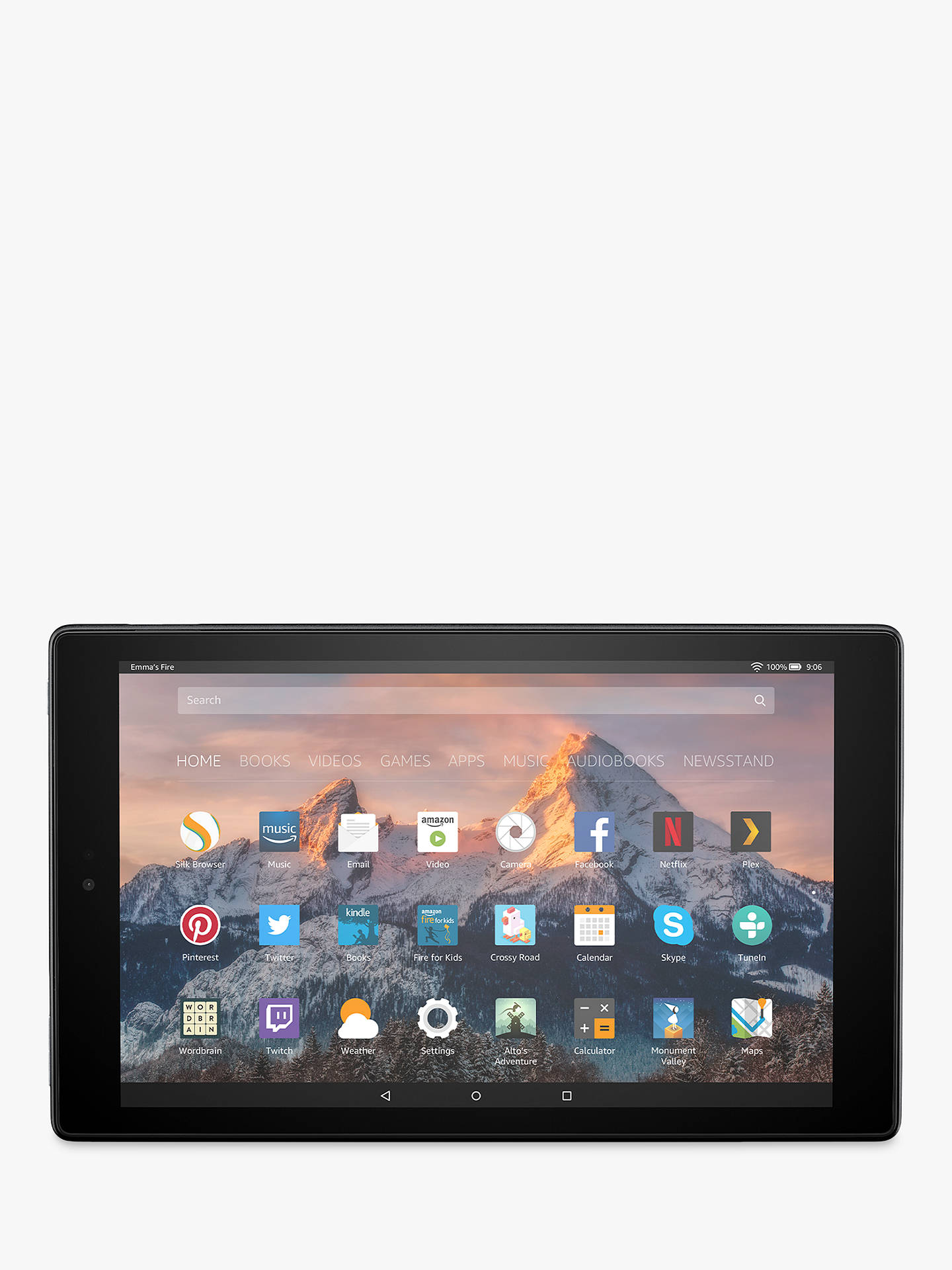 "BuyNew Amazon Fire HD 10 Tablet with Alexa Hands-Free, Quad-core, Fire OS, 10.1"" Full HD, Wi-Fi, 64GB, with Special Offers, Black Online at johnlewis.com"
