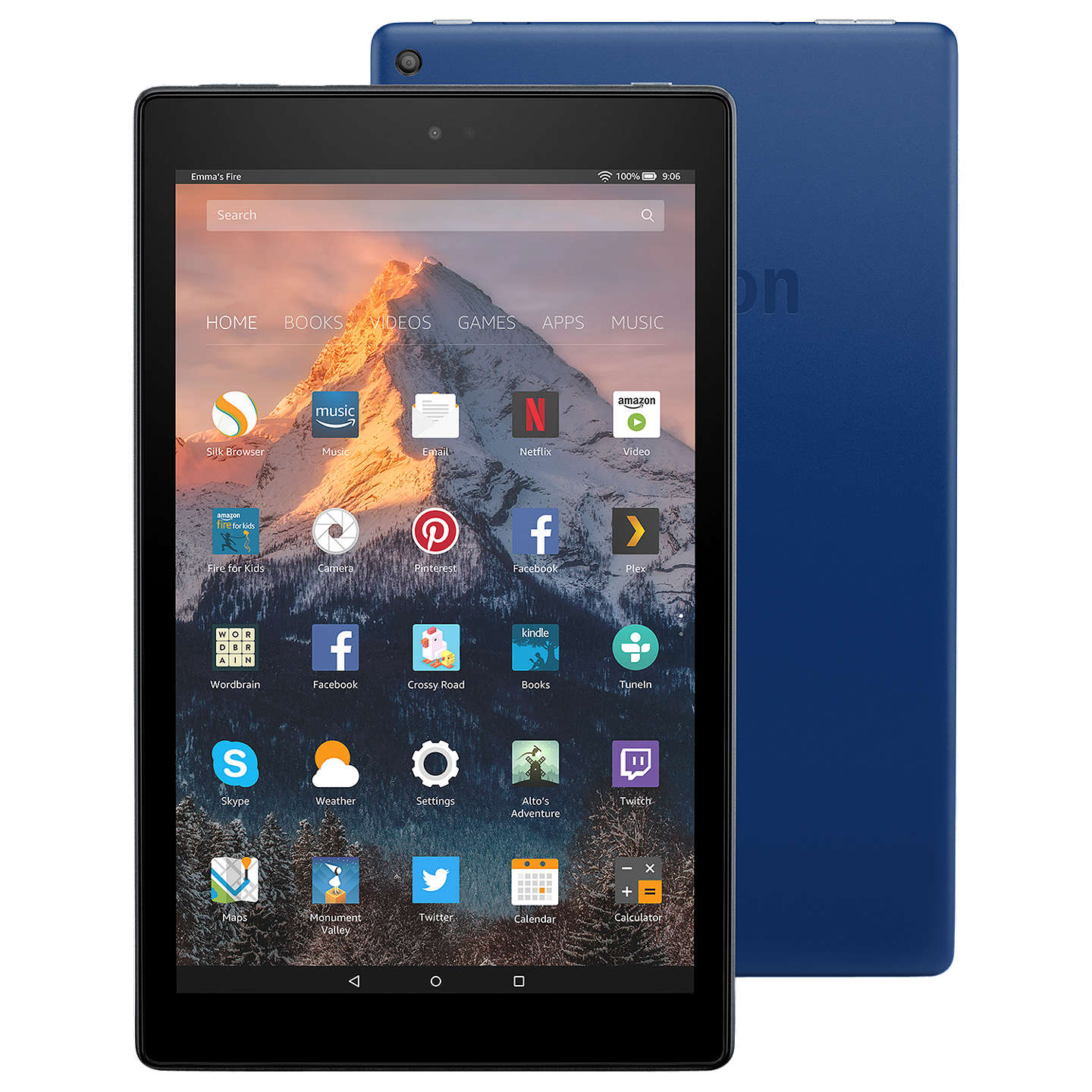 "BuyNew Amazon Fire HD 10 Tablet with Alexa Hands-Free, Quad-core, Fire OS, 10.1"" Full HD, Wi-Fi, 64GB, with Special Offers, Marine Blue Online at johnlewis.com"