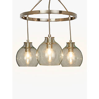 metallic pendant lighting design discoveries. Croft Collection Selsey Semi Flush, 3 Pendant Ceiling Light, Blue/Chrome Metallic Lighting Design Discoveries
