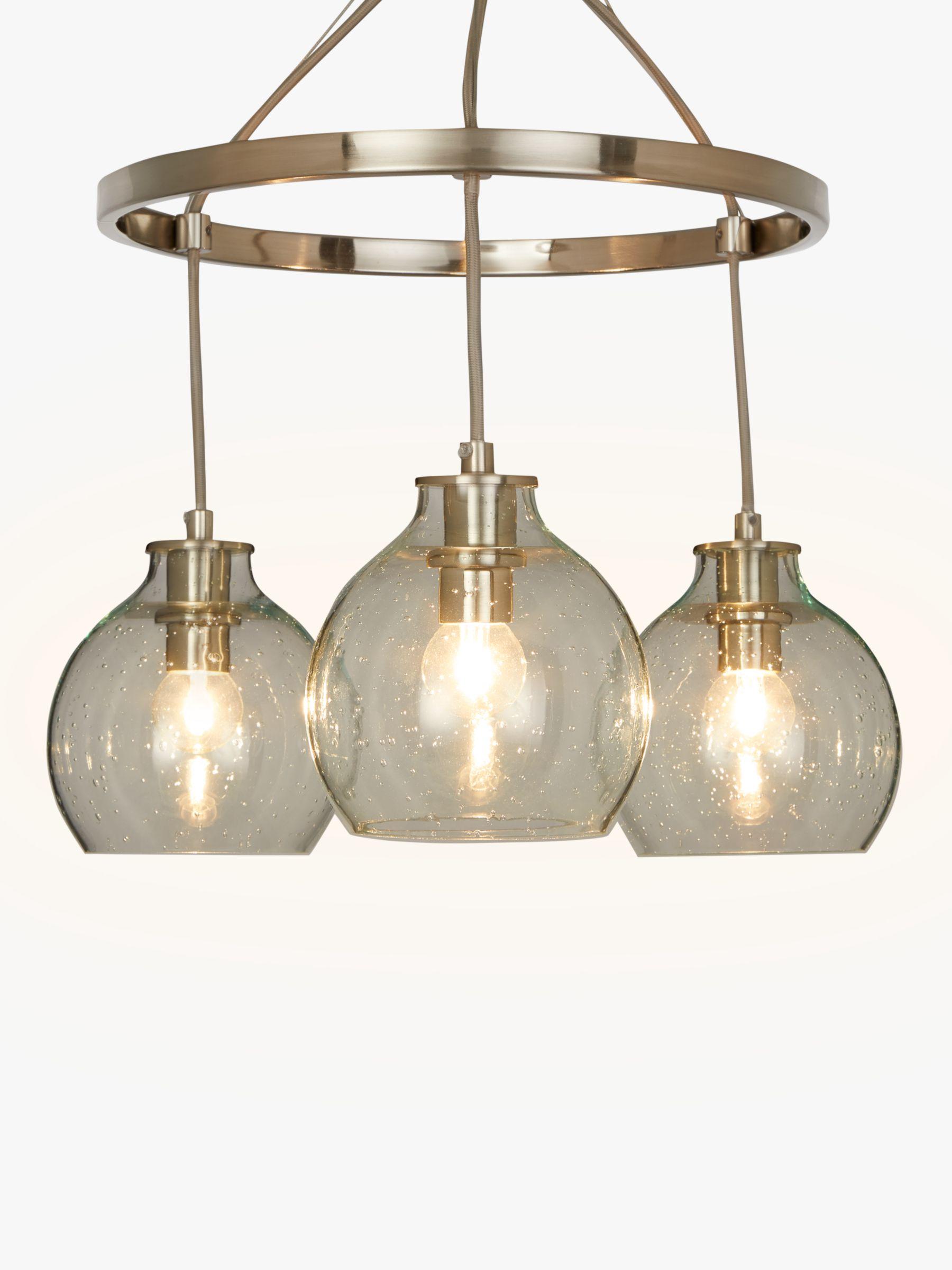 John Lewis & Partners Selsey Semi Flush, 3 Pendant Ceiling Light, Blue/Chrome
