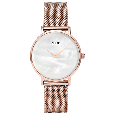 CLUSE CL30047 Women's Minuit La Perle Mesh Bracelet Strap Watch, Rose Gold/White
