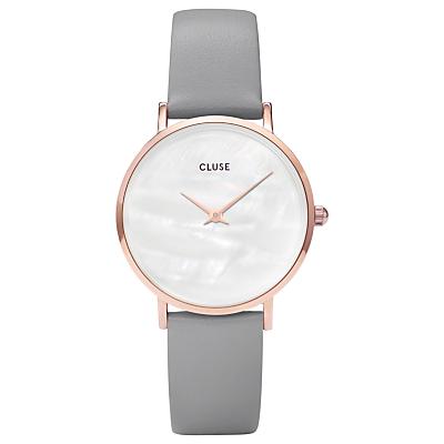 CLUSE CL30049 Women's Minuit La Perle Leather Strap Watch, Grey/White
