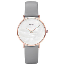 Buy CLUSE CL30049 Women's Minuit La Perle Leather Strap Watch, Grey/White Online at johnlewis.com