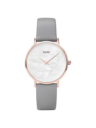 CLUSE CL30049 Women's Minuit La Perle Leather Strap Watch, Grey/White