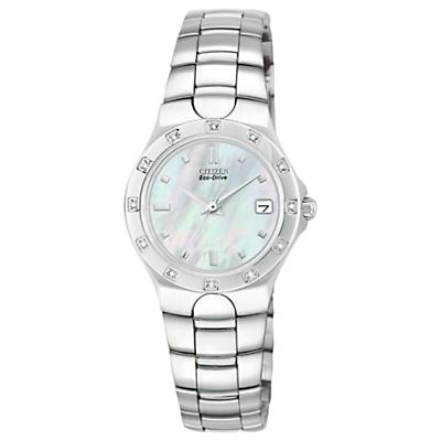 Citizen EW0730-54D Women's Silhouette Diamond Eco-Drive Date Bracelet Strap Watch, Silver/Mother of Pearl