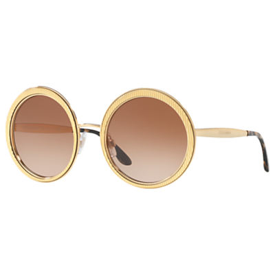 Dolce & Gabbana DG2179 Textured Round Sunglasses, Gold/Brown Gradient