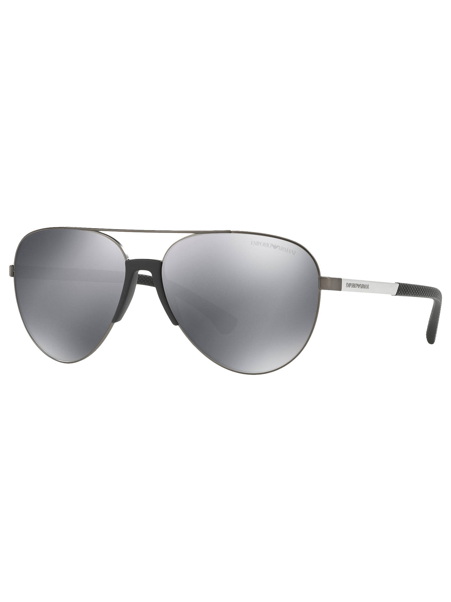 8c9e1195152f Buy Emporio Armani EA2059 Aviator Sunglasses, Black/Mirror Grey Online at  johnlewis.com ...