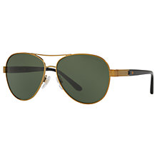 Buy Ralph Lauren RL7054Q Aviator Sunglasses, Gold/Green Online at johnlewis.com