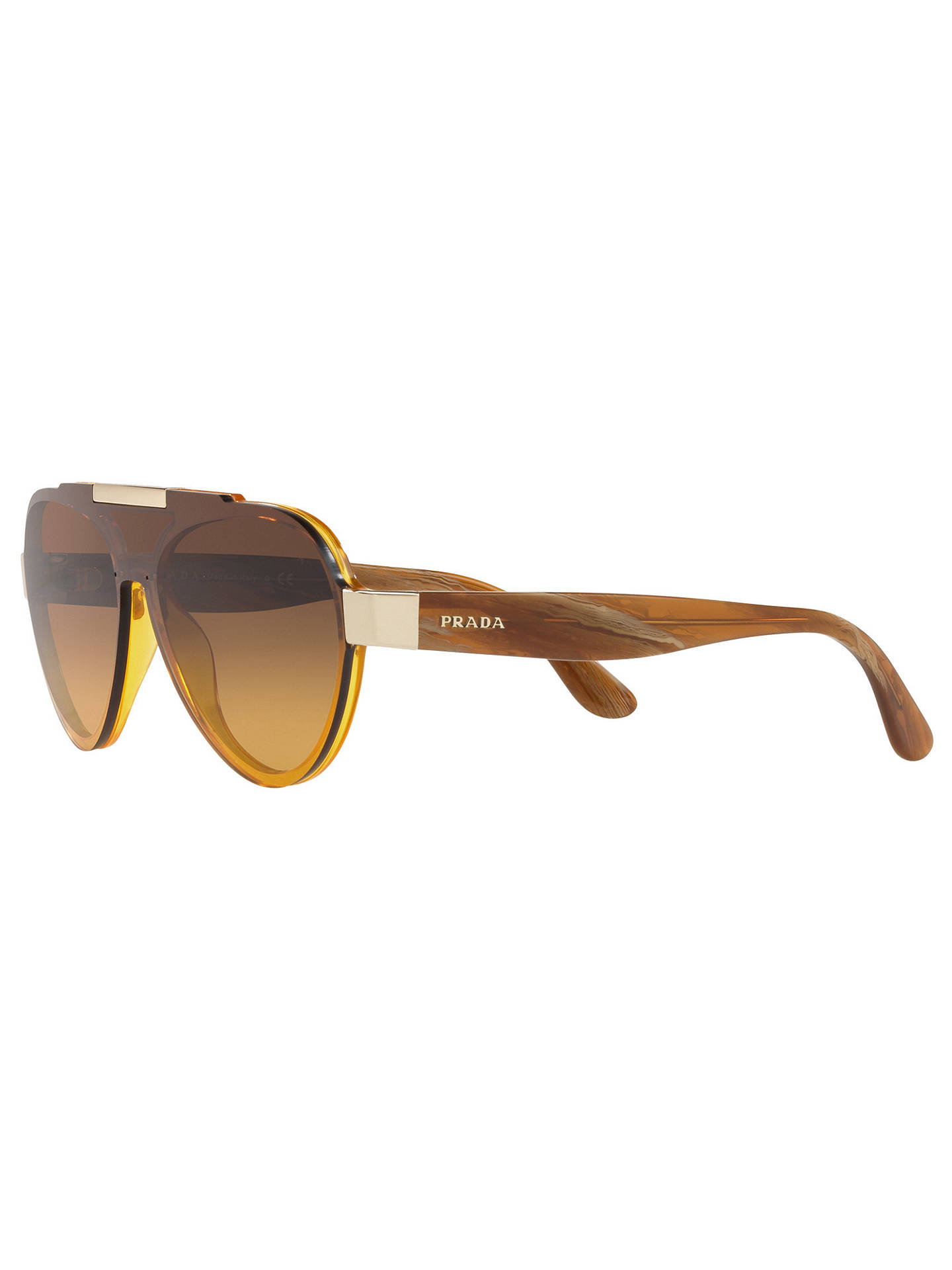 Buy Prada PR 01US Aviator Sunglasses, Yellow/Yellow Brown Gradient Online at johnlewis.com