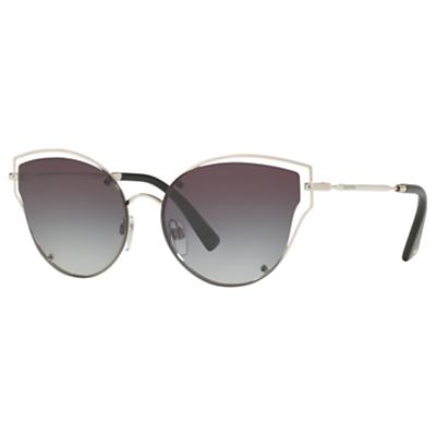 Valentino VA2015 Cat's Eye Sunglasses, Silver/Smoke Gradient