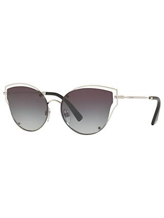 Valentino VA2015 Cat's Eye Sunglasses, Silver/Smoke Gradient