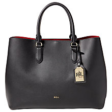 Buy Lauren Ralph Lauren Marcy Tote Bag, Black/Crimson Online at johnlewis.com