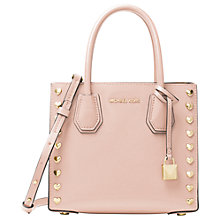 Buy MICHAEL Michael Kors Mercer Leather Heart Stud Messenger Bag, Soft Pink Online at johnlewis.com