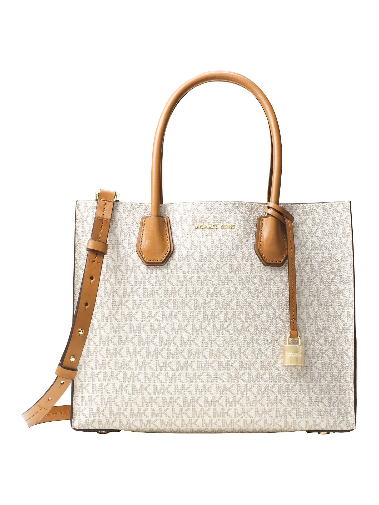 fa2586c33f44b3 Buy MICHAEL Michael Kors Mercer Large Leather Top Zip Tote Bag, Vanilla  Online at johnlewis ...