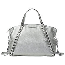 Buy MICHAEL Michael Kors Sadie Large Leather Satchel Bag, Light Pewter Online at johnlewis.com