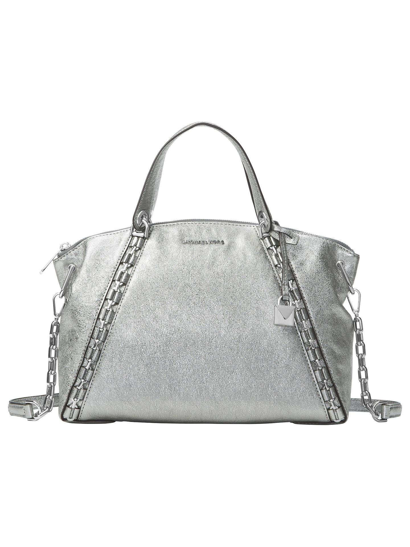 a9416ba86591 Buy MICHAEL Michael Kors Sadie Large Leather Satchel Bag, Light Pewter  Online at johnlewis.