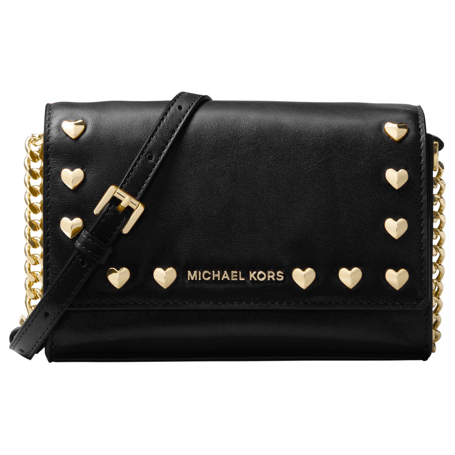 873d9b45d001 ... usa michael michael kors ruby leather heart stud clutch bag black at john  lewis partners c5fc9 ...