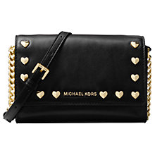 Buy MICHAEL Michael Kors Ruby Leather Heart Stud Clutch Bag, Black Online at johnlewis.com