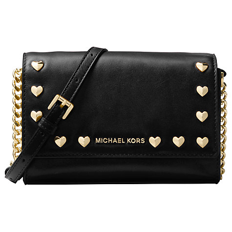 Michael Kors Ruby Leather Heart Stud Clutch Bag Black Online At Johnlewis