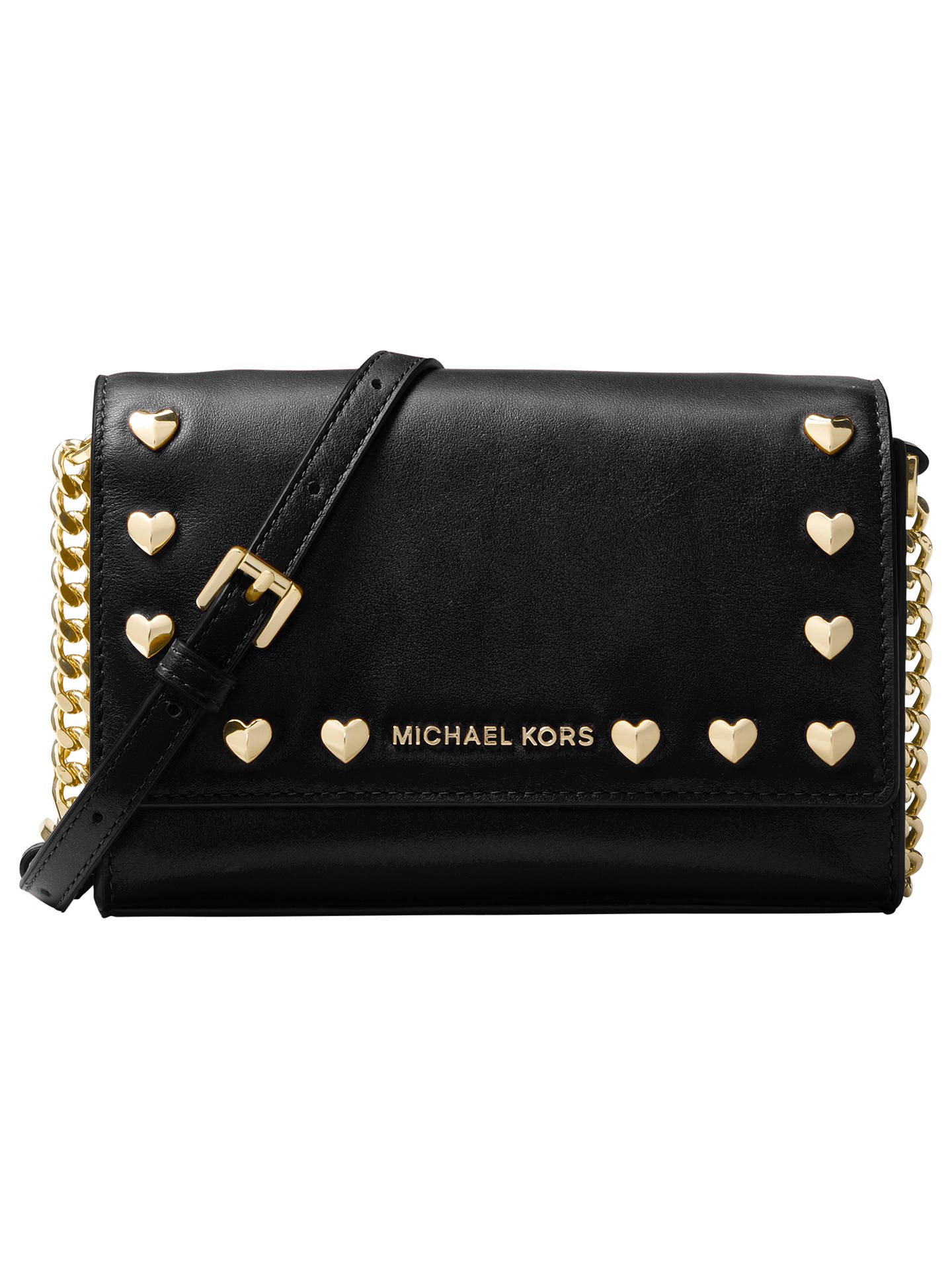 ccc0ac499f600b Buy MICHAEL Michael Kors Ruby Leather Heart Stud Clutch Bag, Black Online  at johnlewis.