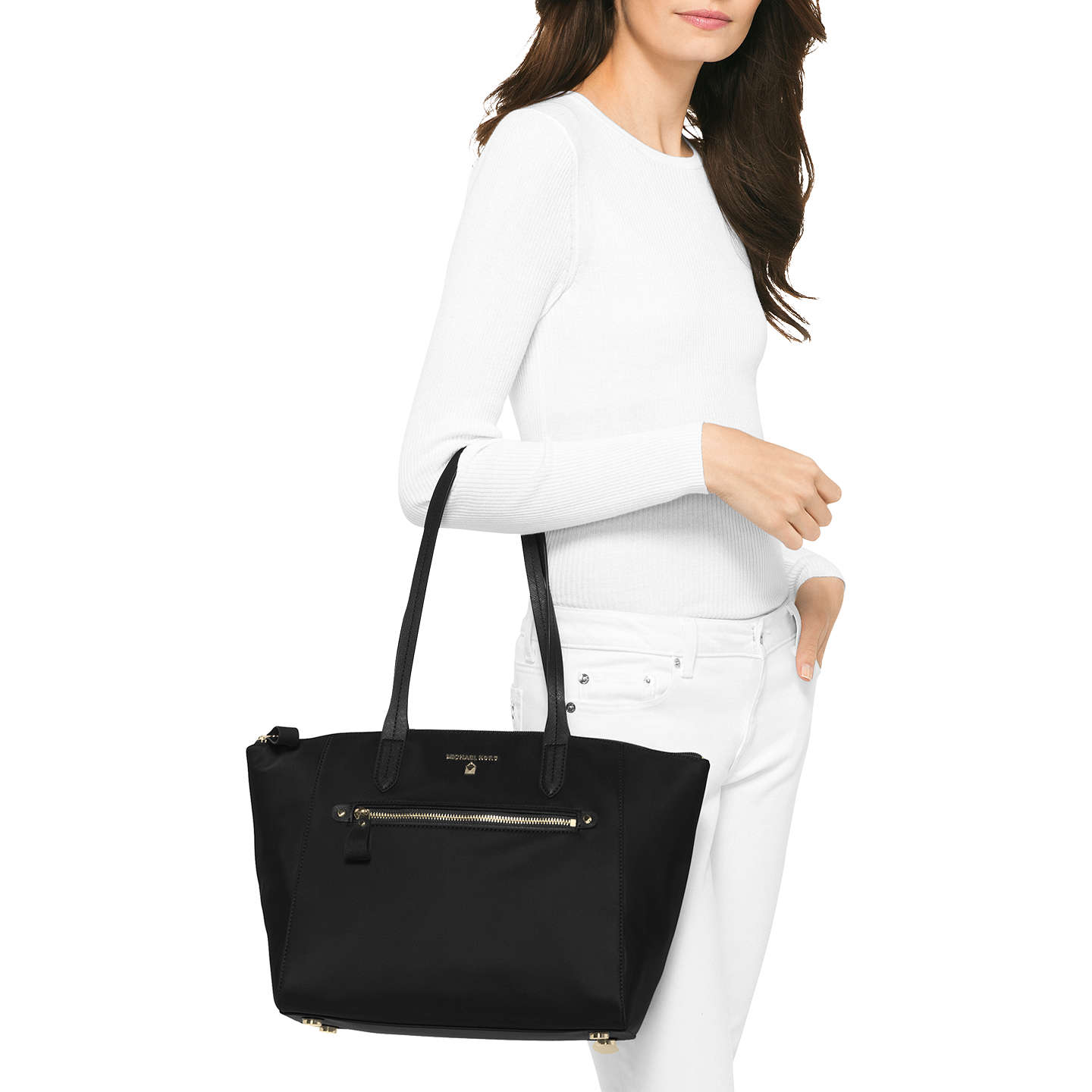 BuyMICHAEL Michael Kors Kesley Medium Zip Top Tote Bag, Black Online at johnlewis.com