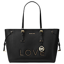 "Buy MICHAEL Michael Kors Voyager Large Leather ""Love"" Tote Bag, Black Online at johnlewis.com"