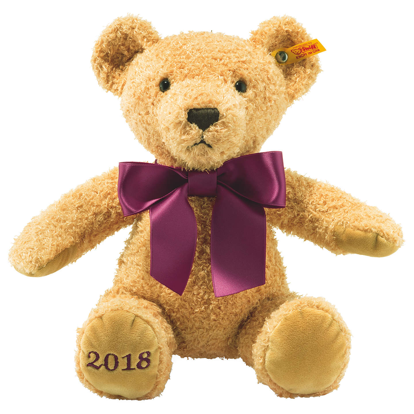 BuySteiff Cosy Year 2018 Bear 36cm Soft Plush Toy, Blond Online at johnlewis.com